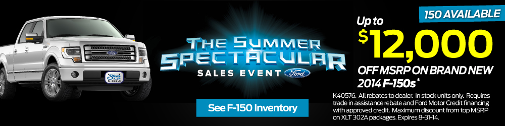 THE FORD SUMMER SPECTACULAR SALES EVENT GOING ON NOW AT STIVERS FORD LINCOLN OF WAUKEE IOWA. UP TO $12,000 OFF MSRP ON BRAND NEW 2014 FORD F-150 TRUCKS IN STOCK IN DES MOINES IOWA