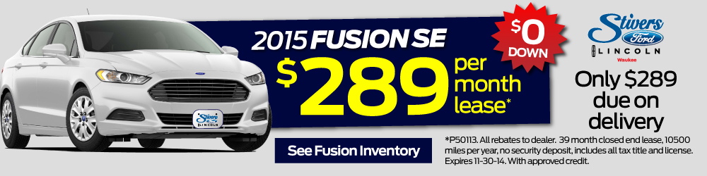 2015 fusion se at stivers ford lincoln for just $289 per month with only $289 due on delivery. $0 Down at Stivers