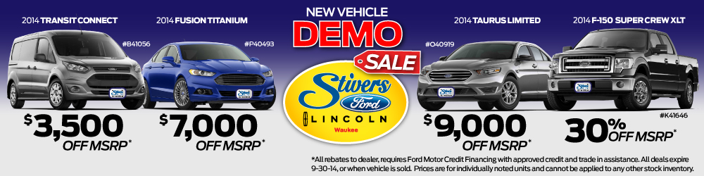New Vehicle Demo Sale at Stivers Ford Lincoln of Waukee Iowa. All New Fords have less than 5,000 miles on them and are brand new with a full coverage warranty